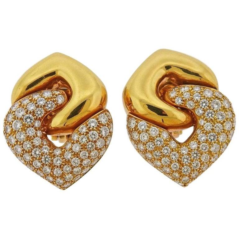 Bulgari Doppio Cuore Gold Diamond Earrings
