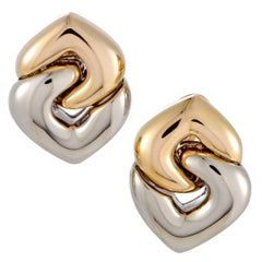 Bulgari Doppio Cuore Yellow and White Gold Hearts Earrings