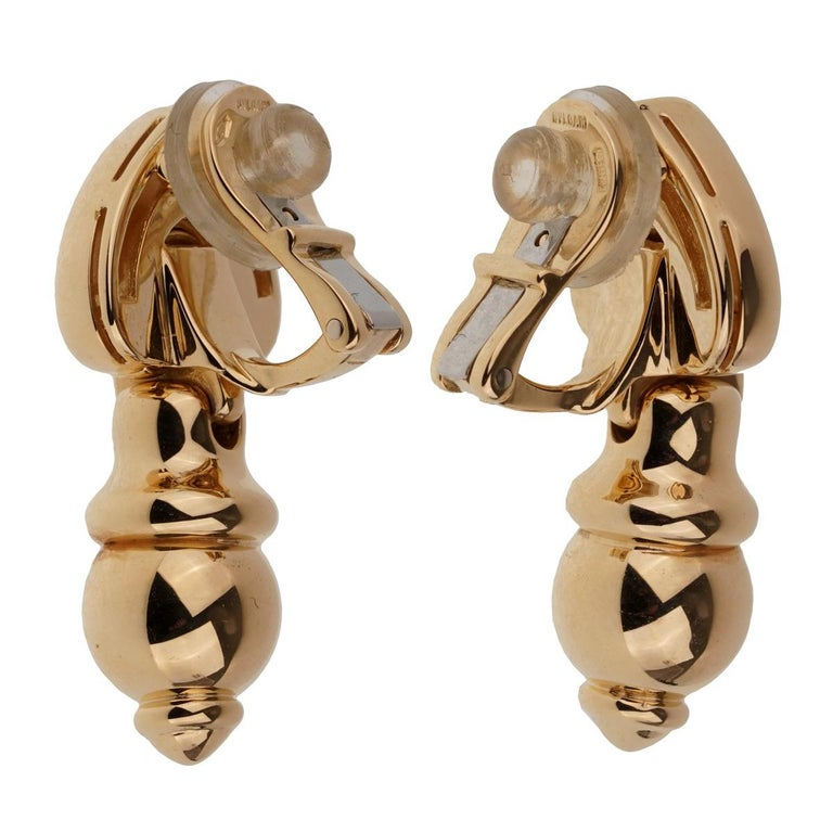 Bulgari Drop Gold Earrings In Good Condition For Sale In Feasterville, PA