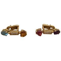 Bulgari Ohrringe mit Mehrfarbigen Steinen und Diamanten Gelbgold