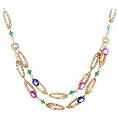 Bulgari Elisia Diamond, Emeralds and Blue/Pink Sapphires Yellow Gold Necklace