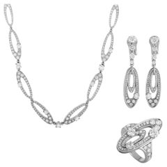 Bulgari Elisia Diamond Pave White Gold Necklace, Earrings and Ring Set