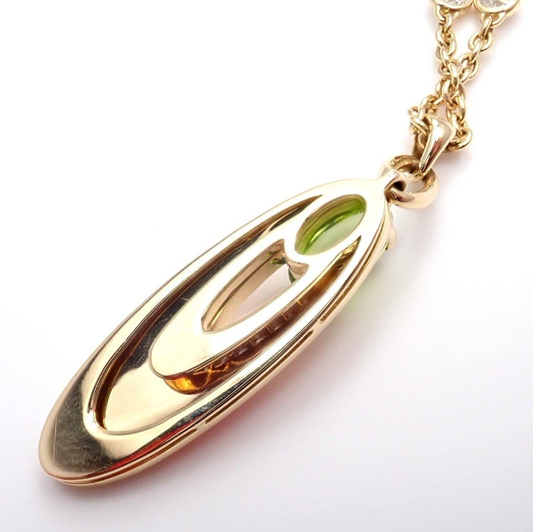 Bulgari Elisia Diamond Peridot Yellow Gold Pendant Necklace 6