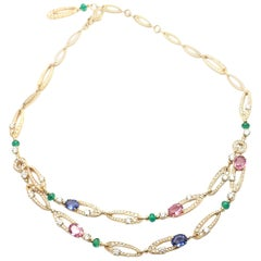 Bulgari Elysia Diamond Multi-Color Sapphire Emerald Yellow Gold Necklace