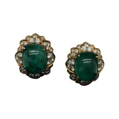Bulgari Emerald and Diamond Earrings 18kt Yellow Gold