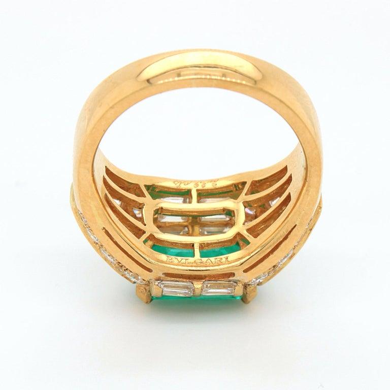 Bulgari Emerald and Diamond Trombino Ring, ca. 1970s For Sale 5
