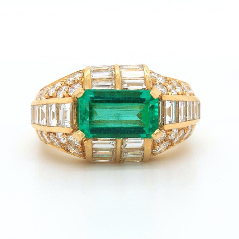 Emerald Cut Bulgari Emerald and Diamond Trombino Ring, ca. 1970s For Sale