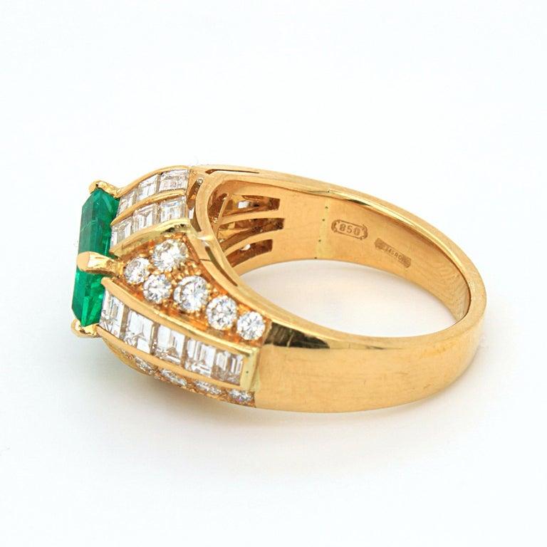 Women's or Men's Bulgari Emerald and Diamond Trombino Ring, ca. 1970s For Sale