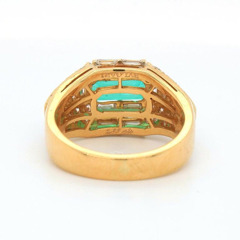 Bulgari Emerald and Diamond Trombino Ring, ca. 1970s For Sale 2