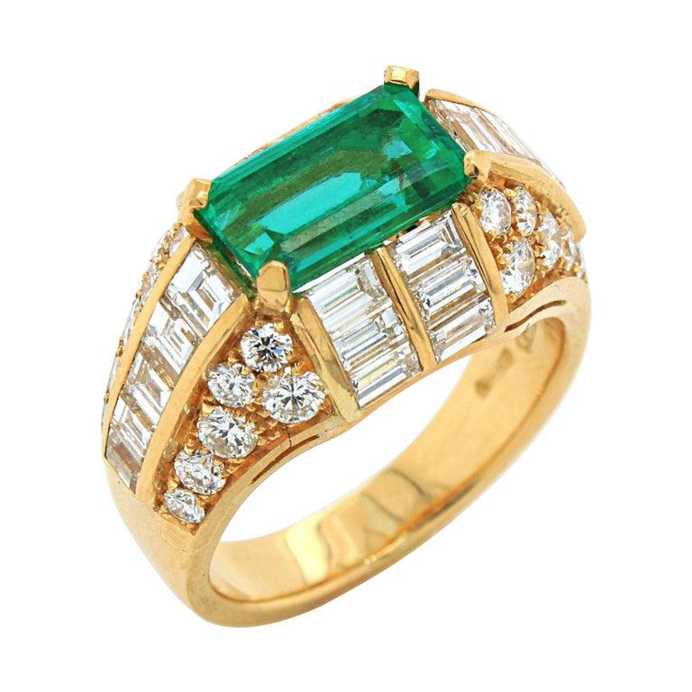 Bulgari Emerald and Diamond Trombino Ring, ca. 1970s For Sale