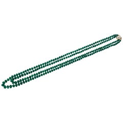 Bulgari Emerald Bead Double Strand Necklace