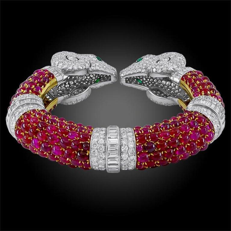 Modernist Rare 1960s Bulgari Rome Cabochon Ruby Diamond Double Ram's Head Bangle For Sale