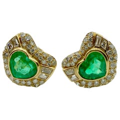 Bulgari Emerald Heart and Diamond Earrings