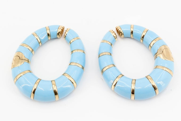 Bulgari Enamel and 18 Karat Yellow Gold Hoop Earrings In Excellent Condition In New York, NY