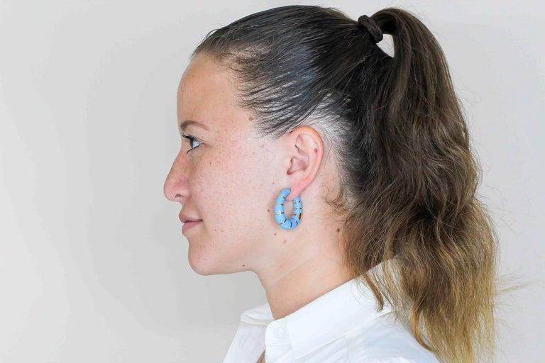 Bulgari Enamel and 18 Karat Yellow Gold Hoop Earrings 2