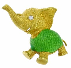 Bulgari Enamel Yellow Gold Elephant Pin Brooch Clip