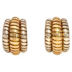 Bulgari Estate Two-Color Gold Tubogas Hoop Earrings