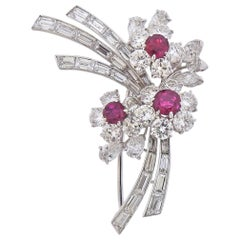 Bulgari Exquisite Ruby and Diamond Platinum Floral Brooch