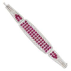 Bulgari Exquisite Ruby Diamond Estate Bracelet in Platinum