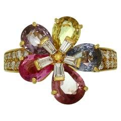 Bulgari Fancy Sapphire Diamond Yellow Gold Flower Ring