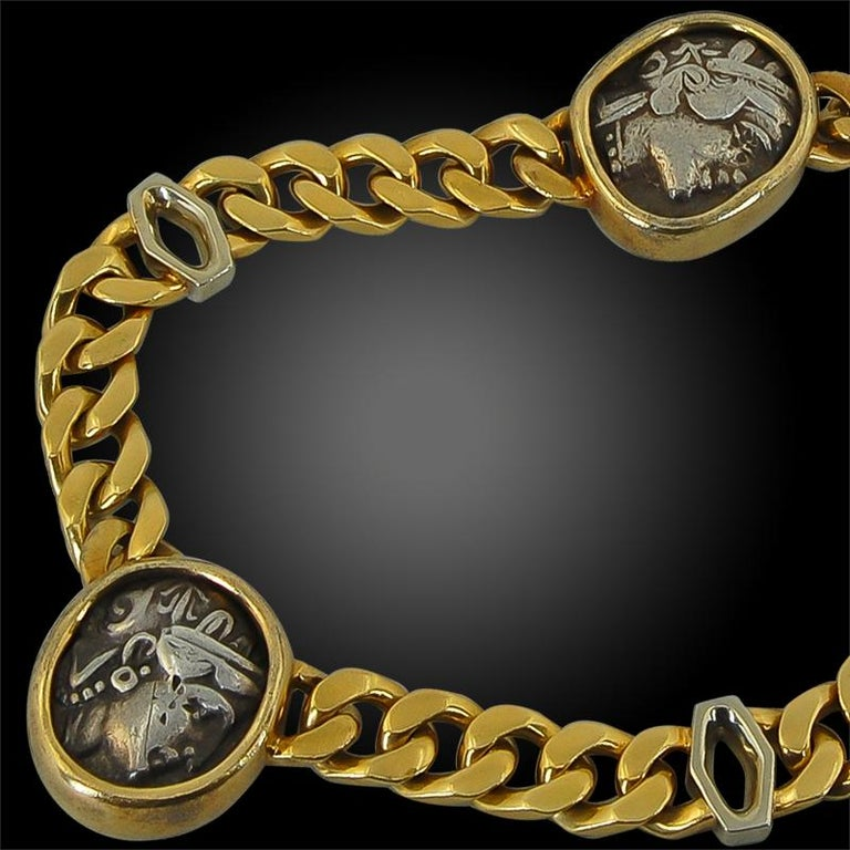 Bulgari Five Coin Link Gold Necklace In Good Condition For Sale In New York, NY