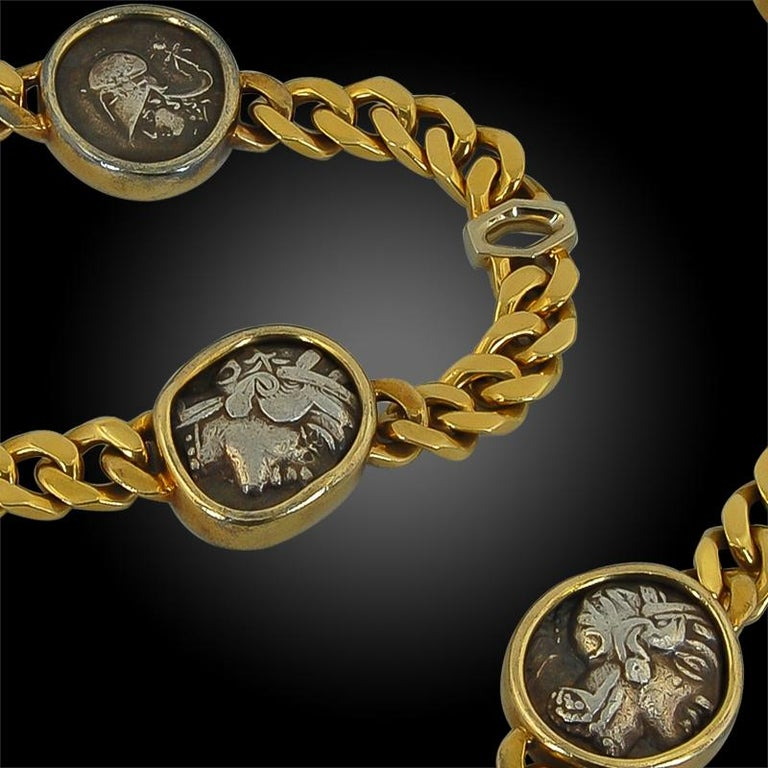 Women's or Men's Bulgari Five Coin Link Gold Necklace For Sale