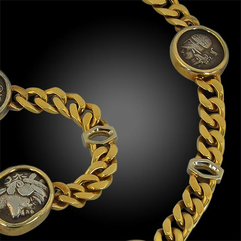 Bulgari Five Coin Link Gold Necklace For Sale 1