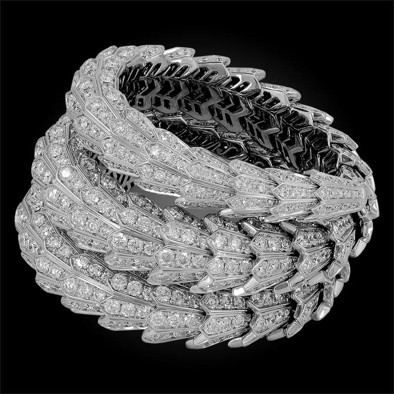 Round Cut Bulgari Full Pave Diamond Serpenti Bangle For Sale