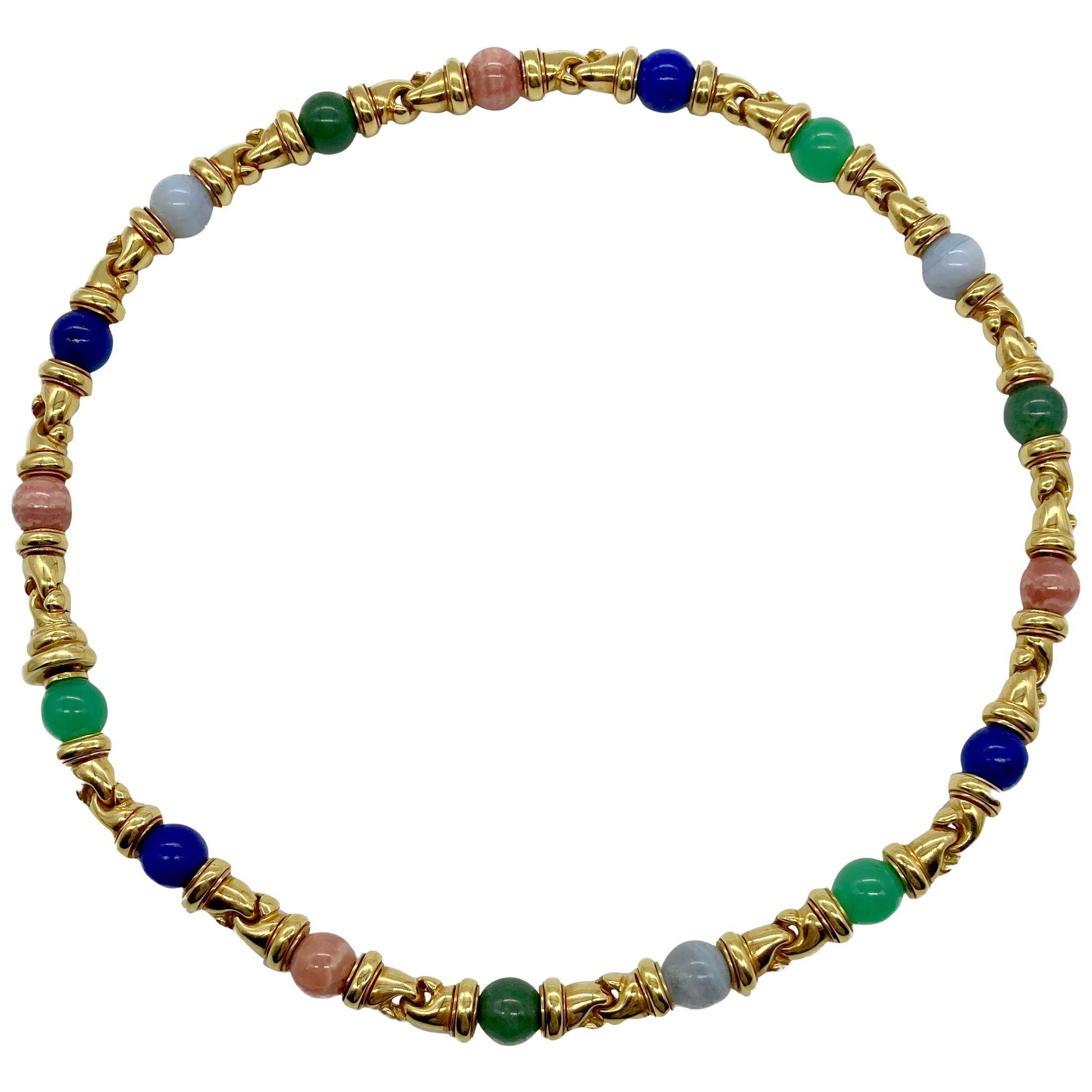 Bulgari Gancio Multi-Color Gemstone Yellow Gold Necklace