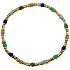 Bulgari Gancio Multi-Color Gemstone Yellow Gold Necklace