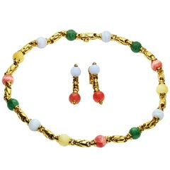 Bulgari Gemstone Yellow Gold Bead Link Necklace and Earrings Set