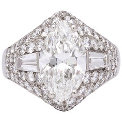 Bulgari GIA Certified 3.06 Carat Marquise Diamond Ring