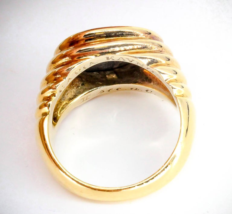 Contemporary Bulgari Gold Ancient Coin Ring For Sale