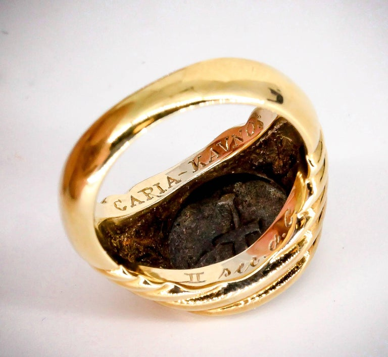 Bulgari Gold Ancient Coin Ring In Good Condition For Sale In New York, NY