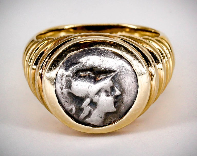Women's or Men's Bulgari Gold Ancient Coin Ring For Sale