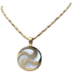 Bulgari Gold and Mother of Pearl Spinning Yin Yang Pendant Necklace