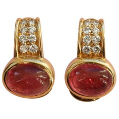 Bulgari Gold Diamond and Pink Tourmaline Earclips