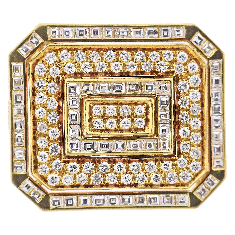 Bulgari Gold Diamond Brooch Pin