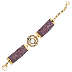 Bulgari Gold Diamond Leather Bracelet