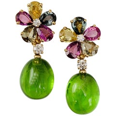 Bulgari Gold Diamond Multicolored Sapphire Earrings