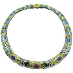 Bulgari Gold, Hematite, Sapphire and Diamond Modulo Necklace