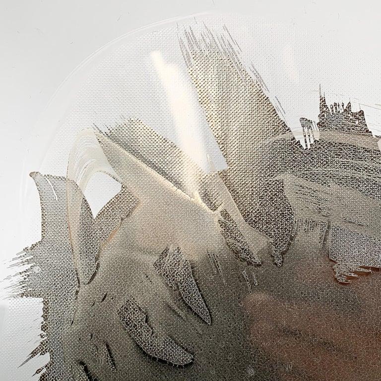 Unique Sculptural Art Glass Low Bowl with Silver Details For Sale 4