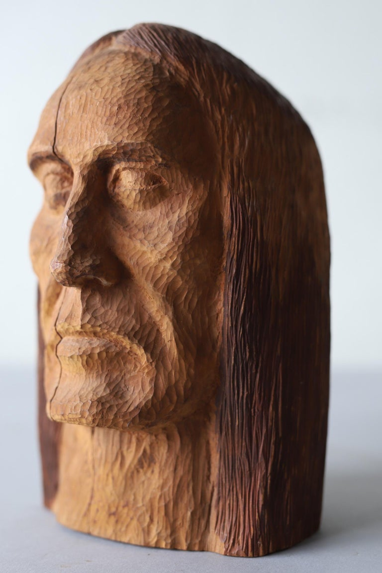 Hand Carved Wood Head For Sale 5