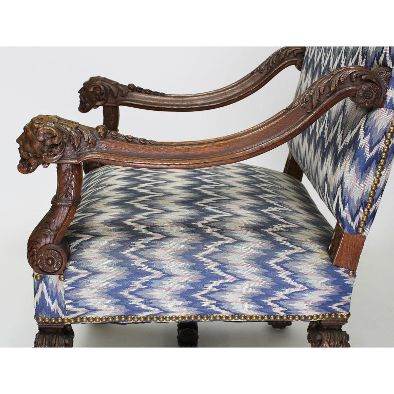 Fine French 19th Century Louis XIV Style Baroque Carved Walnut Throne Armchair For Sale 5
