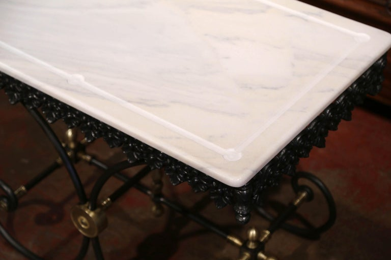 Polished French Iron Butcher or Pastry Table with Marble Top and Brass Mounts For Sale 5