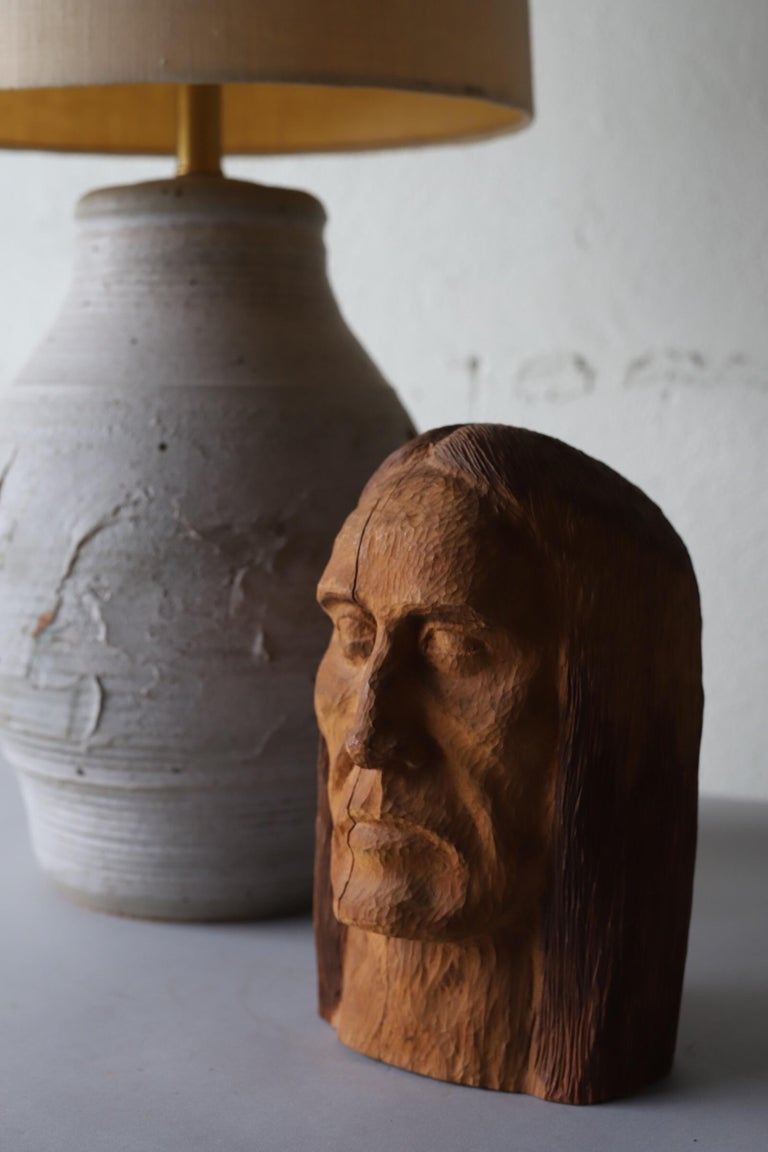 Hand Carved Wood Head For Sale 6