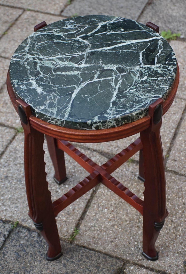 Mahogany and Marble Arts and Crafts Wine Table / Plant Stand / End Table For Sale 5