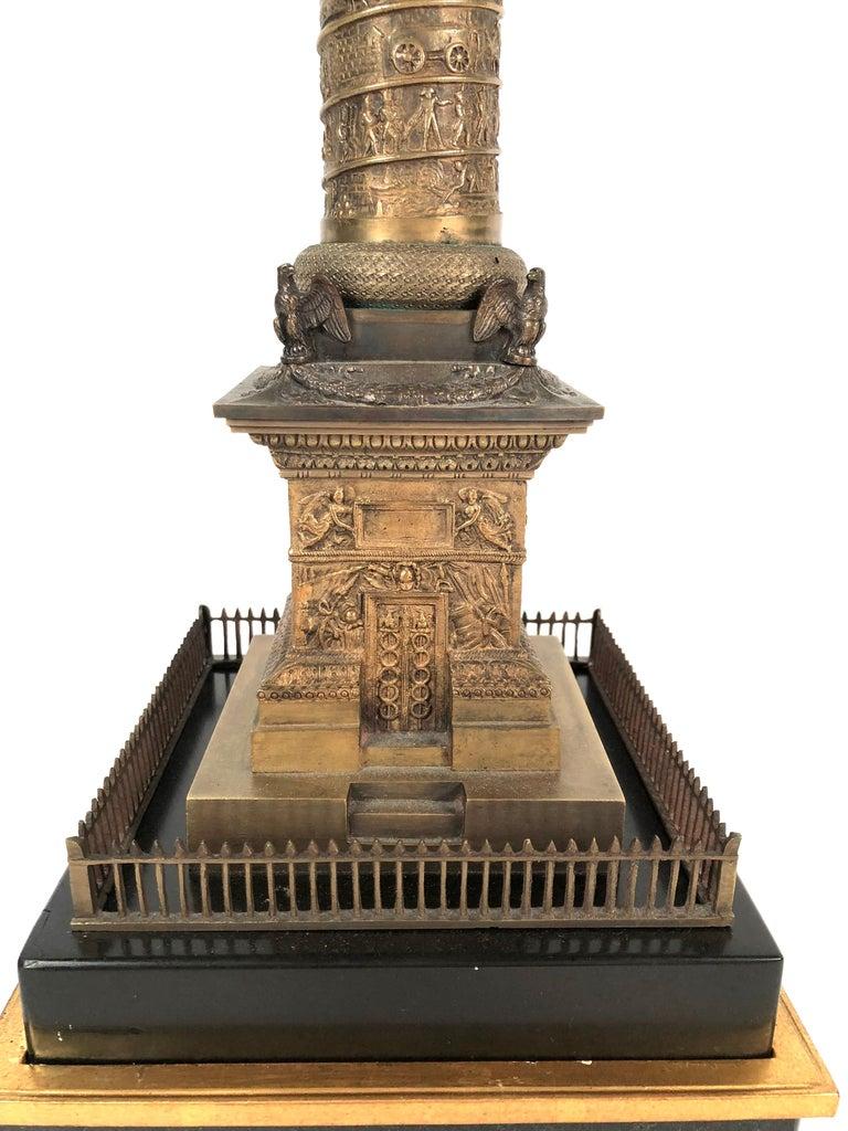 Large Grand Tour Gilt Bronze Model of the Place Vendome Napoleon Column in Paris For Sale 4