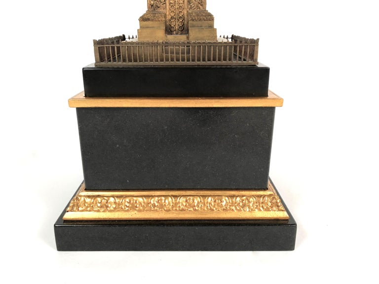 Large Grand Tour Gilt Bronze Model of the Place Vendome Napoleon Column in Paris For Sale 5