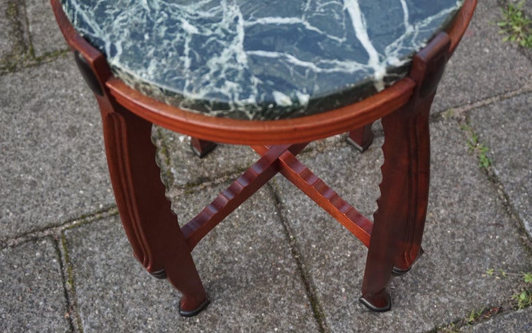 Mahogany and Marble Arts and Crafts Wine Table / Plant Stand / End Table For Sale 7